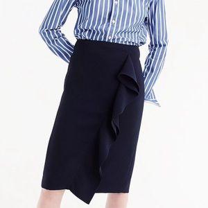 New! J.Crew Ruffle Pencil Skirt, Navy. Size 6